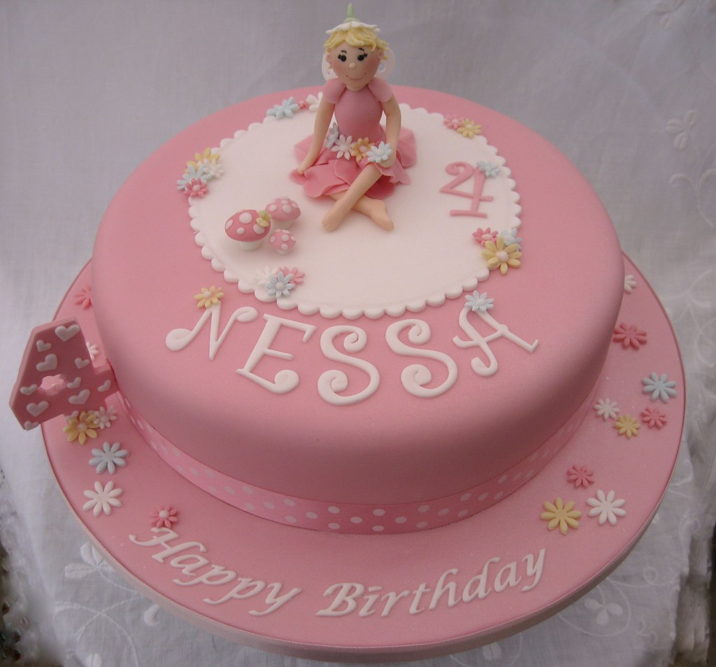 Little girls pink Fairy Birthday Cake 10 vanilla cake wi Flickr