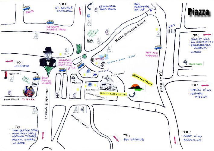 Map of Piazza historic Addis Ababa Scanned hand made col Flickr