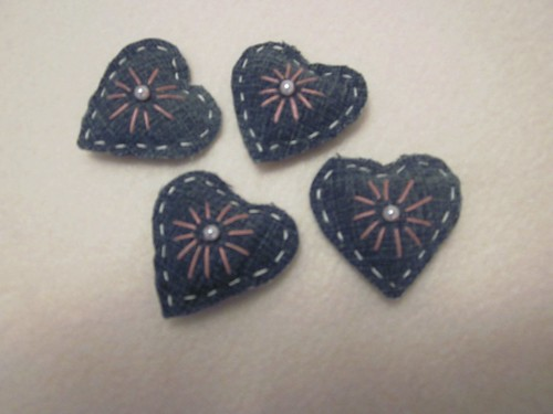 Denim Heart Magnets | by LookHappyShop