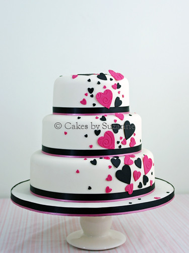black and pink wedding cake pictures pink and black cascading hearts wedding cake suzanne 11820