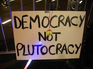 holiday liberty sign democracy not plutocracy | by pameladrew212