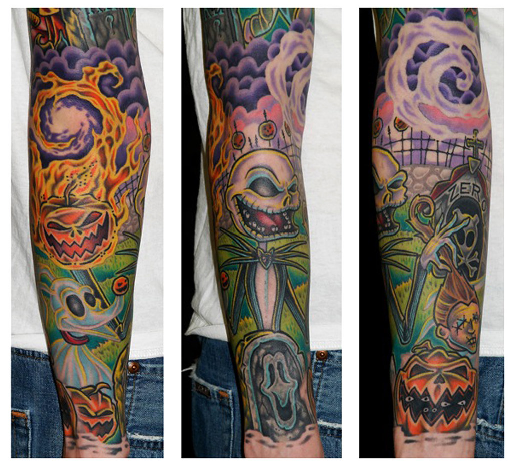 nightmare before christmas-color-tattoo-sleeve | The Reserve Tattoo ...