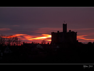 Sunrise behind Warkworth Castle | by Dru Dodd