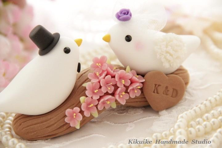 Wedding Cake Topper-love bird with branch and sakura ,cher…   Flickr