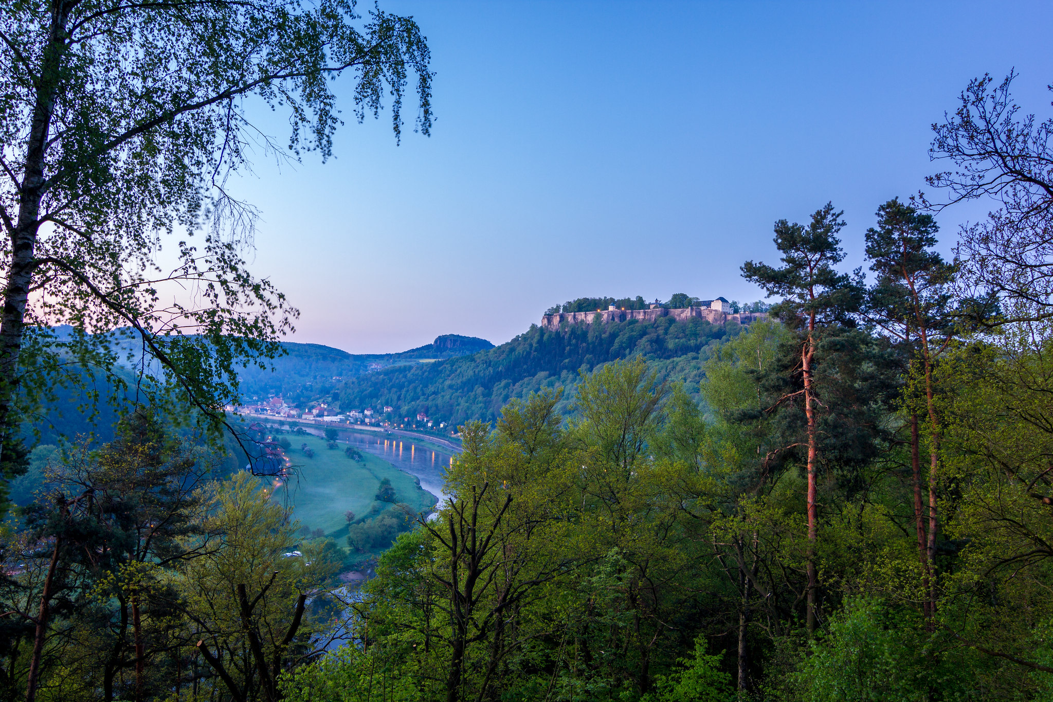 Königstein Fortress before sunrise