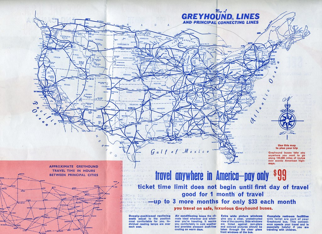 Greyhound Usa Map.Greyhound See The Usa For 99 Leaflet Issued 1968 Side Flickr