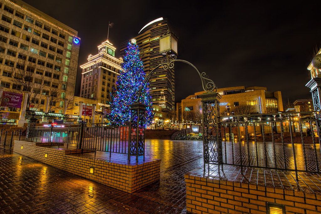 christmas at pioneer courthouse square portland oregon hdr by david gn photography