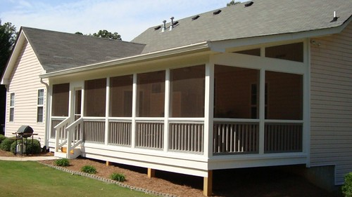 Pressure treated screen porch with shed roof for Shed roof screened porch plans