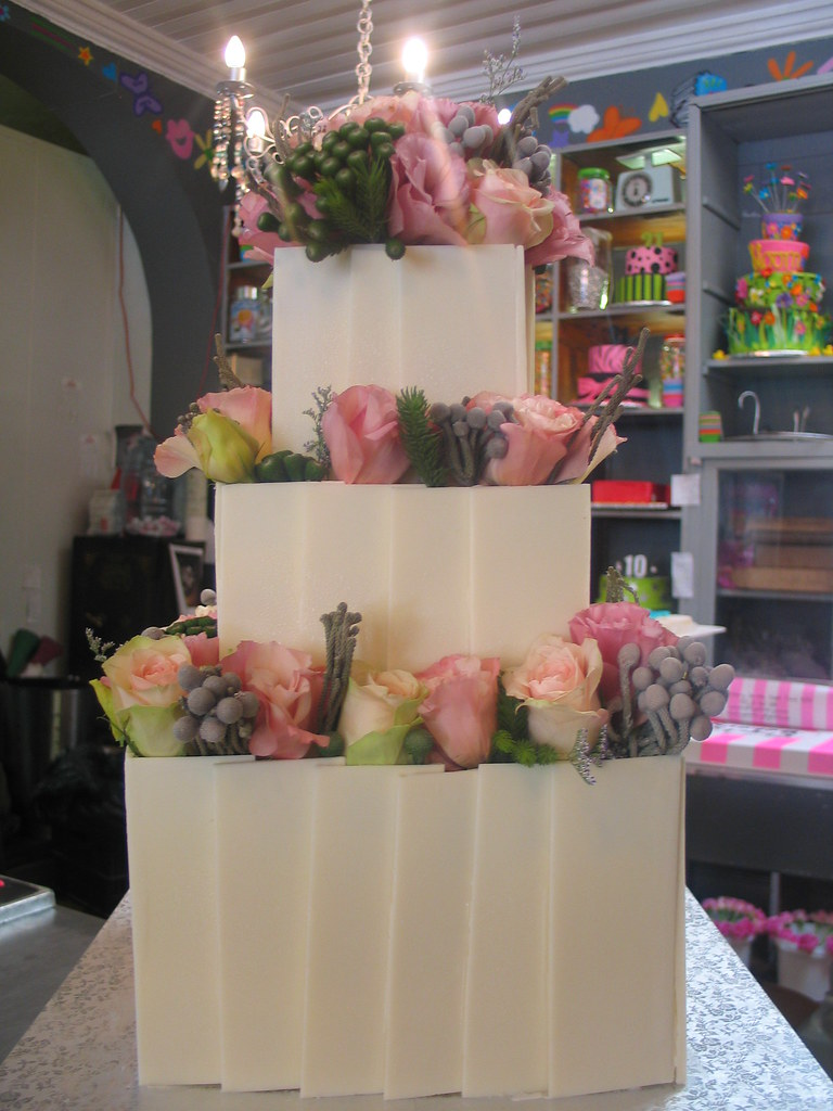 3-tier Wicked Chocolate wedding cake decorated with white … | Flickr