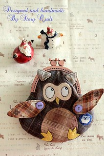 Mitty Owl Clutch purse sewing pattern available for sell now. | by STORY QUILT
