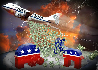 Citizens United Carpet Bombing Democracy - Cartoon | by DonkeyHotey