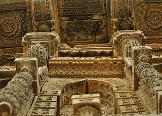 Carvings on the front wall and underneath the balcony - Jam Nindo's tomb, Makli, Thatta | by madeeha syed