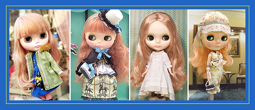 Neo Blythe Comparison: Rachel's Ribbon (RaRi/first), Heart of Montmartre (HoM/second), Vinter Arden (VA/third) and Mademoiselle Rosebud (MRB/last) | by electrikbarbarella