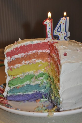 Rainbow cake with 14 candles | by Scott McLeod