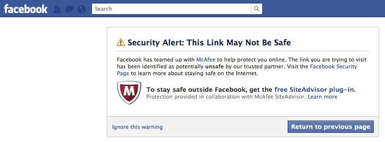 McAfee Warning on Facebook   Really? Is Facebook now trying