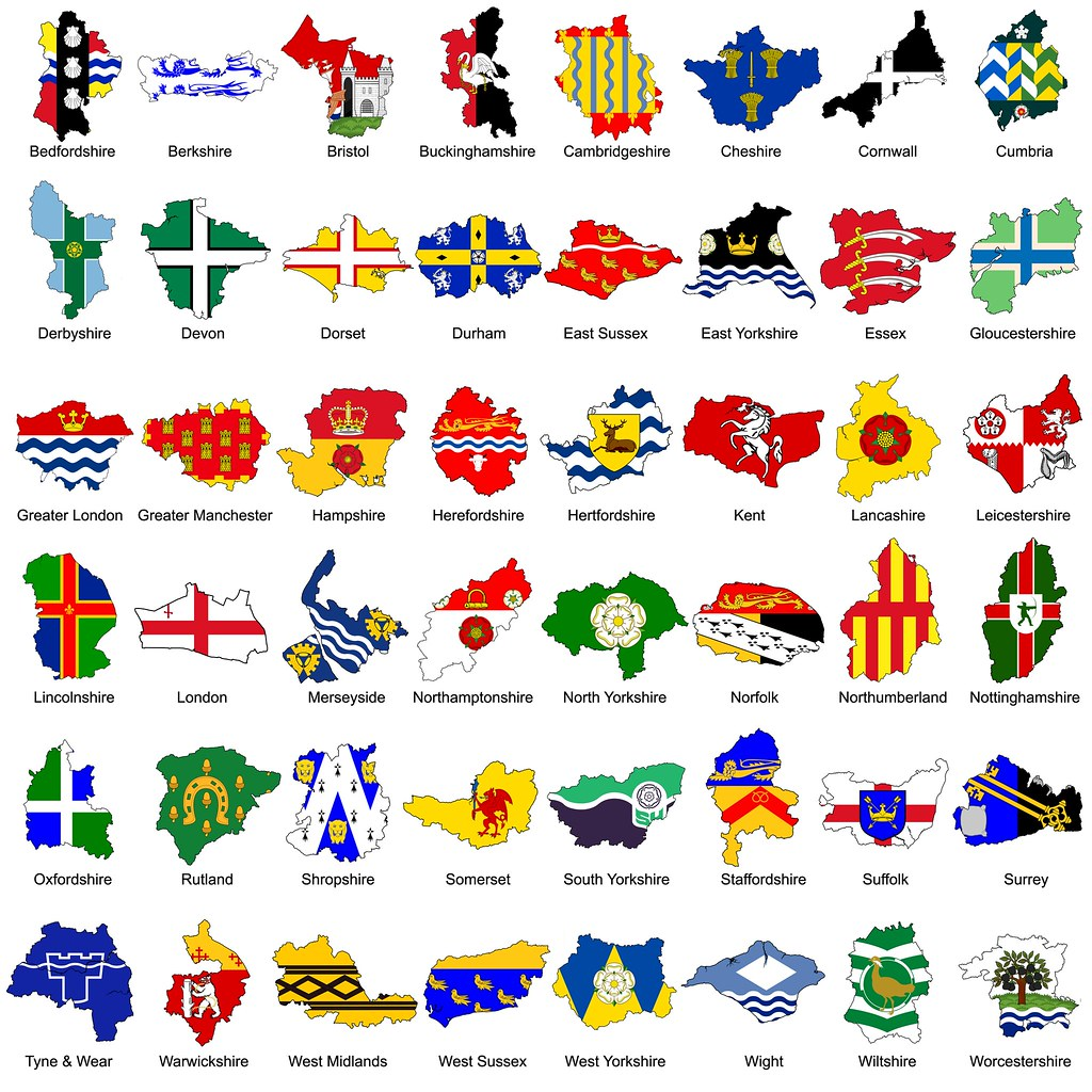 Flag gallery british county flags -  The Counties Of England The County Flags Of England By The_virgo