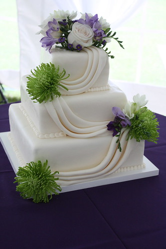 purple and green square wedding cakes purple and green fondant swag wedding cake jen flickr 18856
