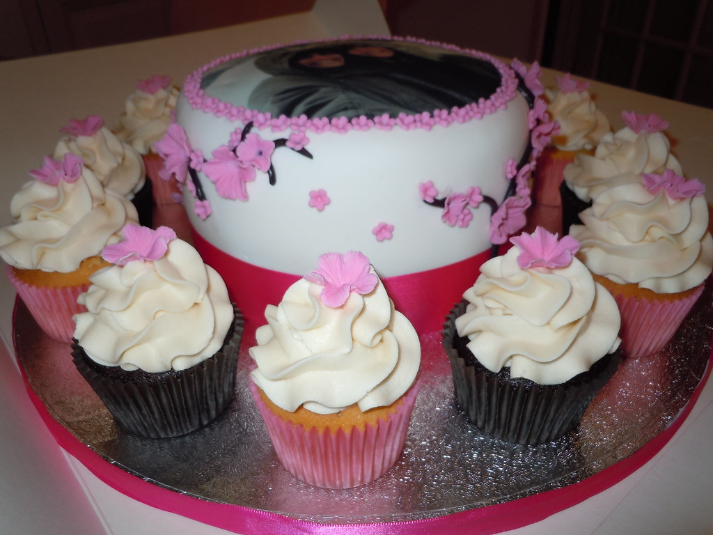 Cherry blossom cake and cupcakes for 1st wedding anniversau2026 flickr