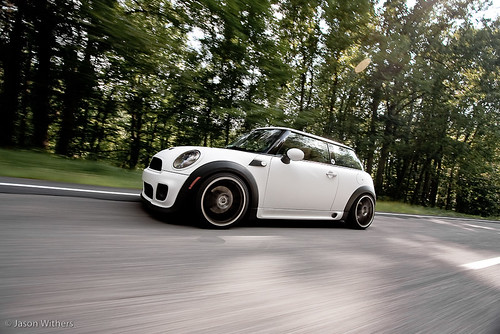 Satin white MINI on the move. | by jasonwithers