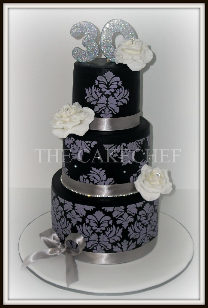 30th Birthday Cake 3 Tier Black With Lilac Stenciling Lar Flickr