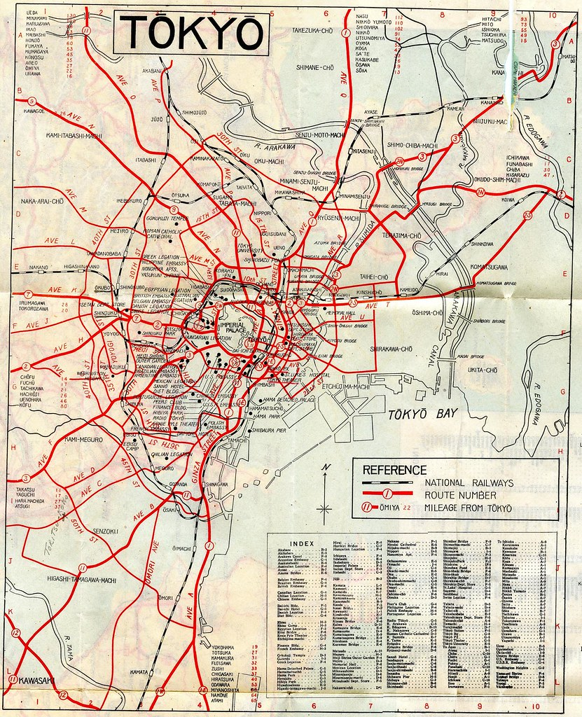 1948 tokyo highway map features street names imposed by th flickr