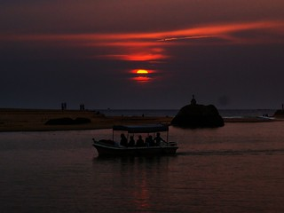 sunset over backwaters and the boat | by { pranav }