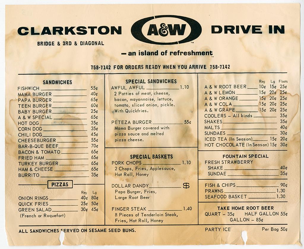 Clarkston Aw Drive In Menu Clarkston Wa Circa 1960 Flickr