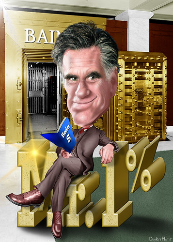 Mitt Romney, Mr. 1% - Cartoon | by DonkeyHotey