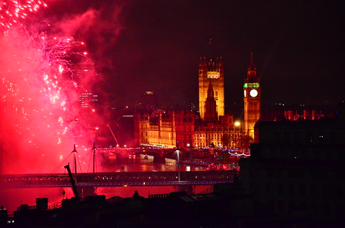 The Houses of Parliament and red fireworks | Ben Sutherland | Flickr