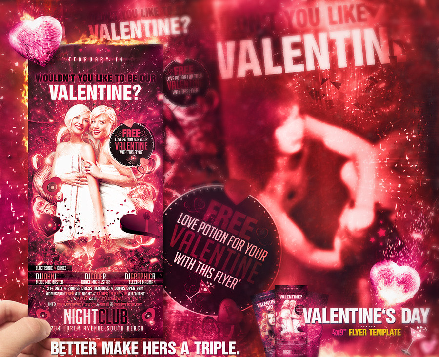Valentine S Day Flyer Template Fully Editable Layered As Flickr