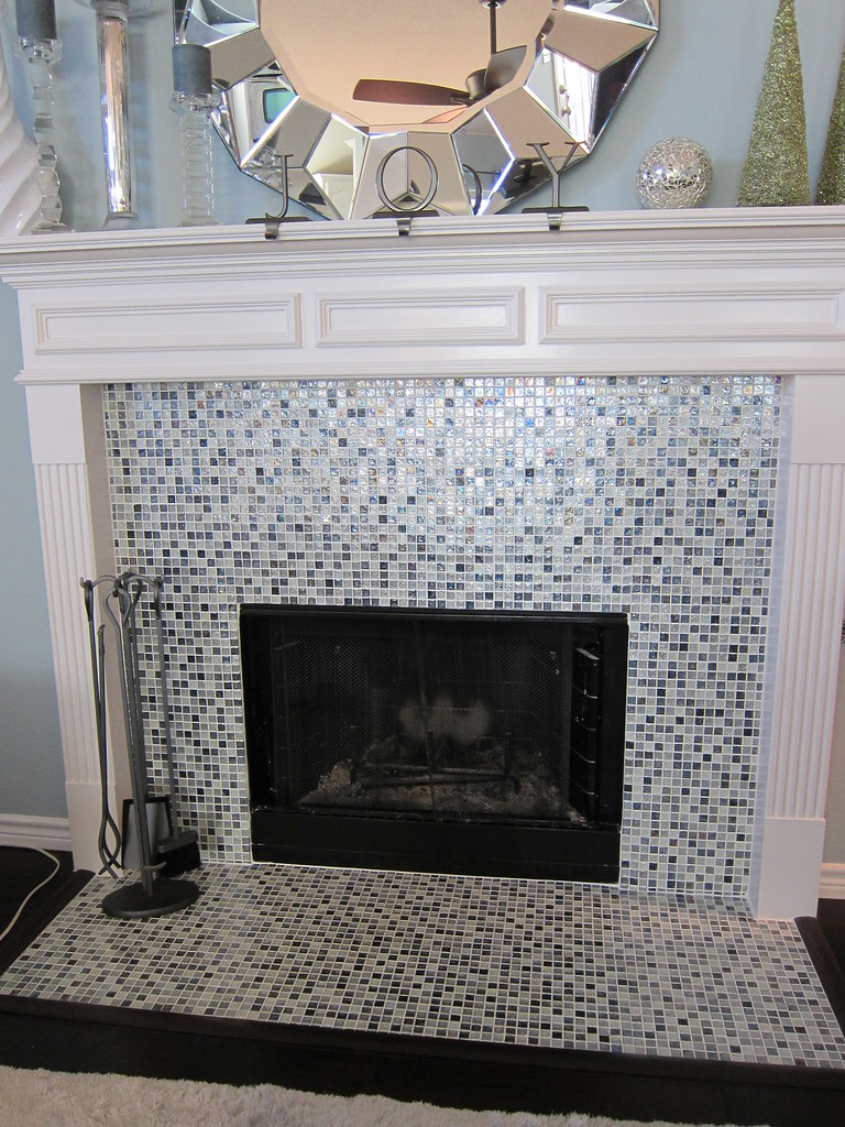 fireplace remodel with glass tile Fort Worth | removed exist… | Flickr