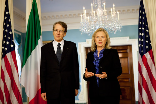 Foreign Minister Giulio Terzi with US Secretary of State Hillary Clinton in Washington DC | by Embassy of Italy in the US