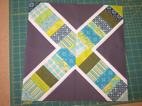 Twice as Nice Bee - String X block for auntem1 | by Around the Quilt Block