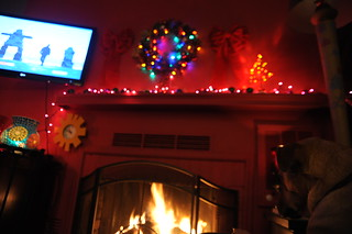 Inukshuks and man running on TV, Christmas fireplace, Rosie, Seattle, Washington, USA | by Wonderlane