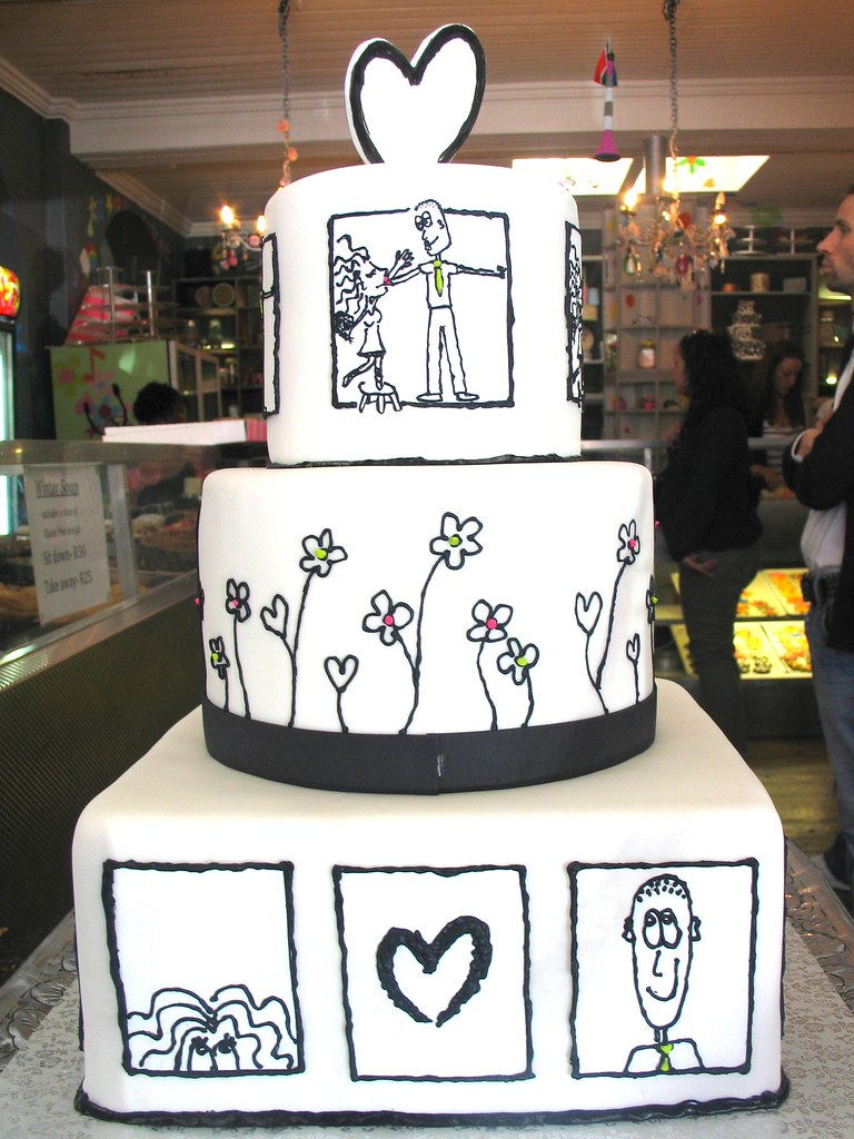 3-tier Wicked Chocolate wedding cake covered in white fond… | Flickr