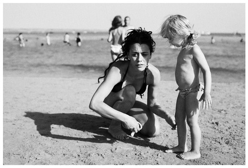 Big Girl And Wee Girl On Beach  Sciacca, August 2010 -6692