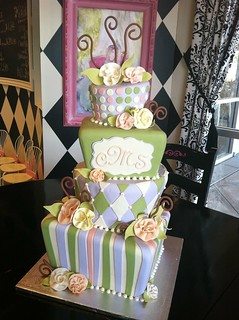 Green purple topsy turvy wedding | by Designer Cakes By April