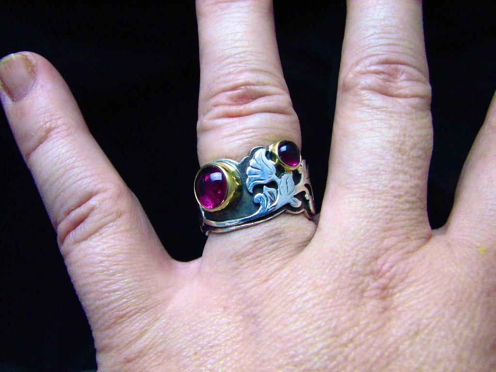 Rubelllite, 18k, sterling, scrollwork ring