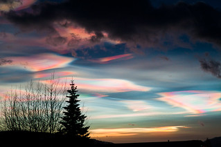 "Rainbow Clouds - ""mother of pearl clouds"" - ""nacreous clouds"" 