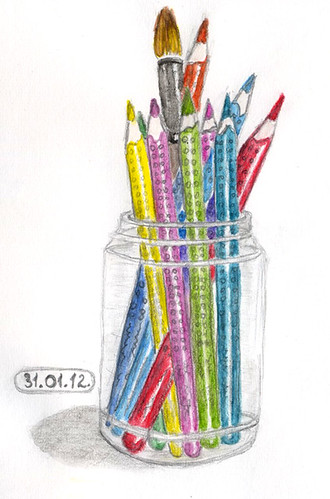 My pencils in glass jar. | by Irina Miller
