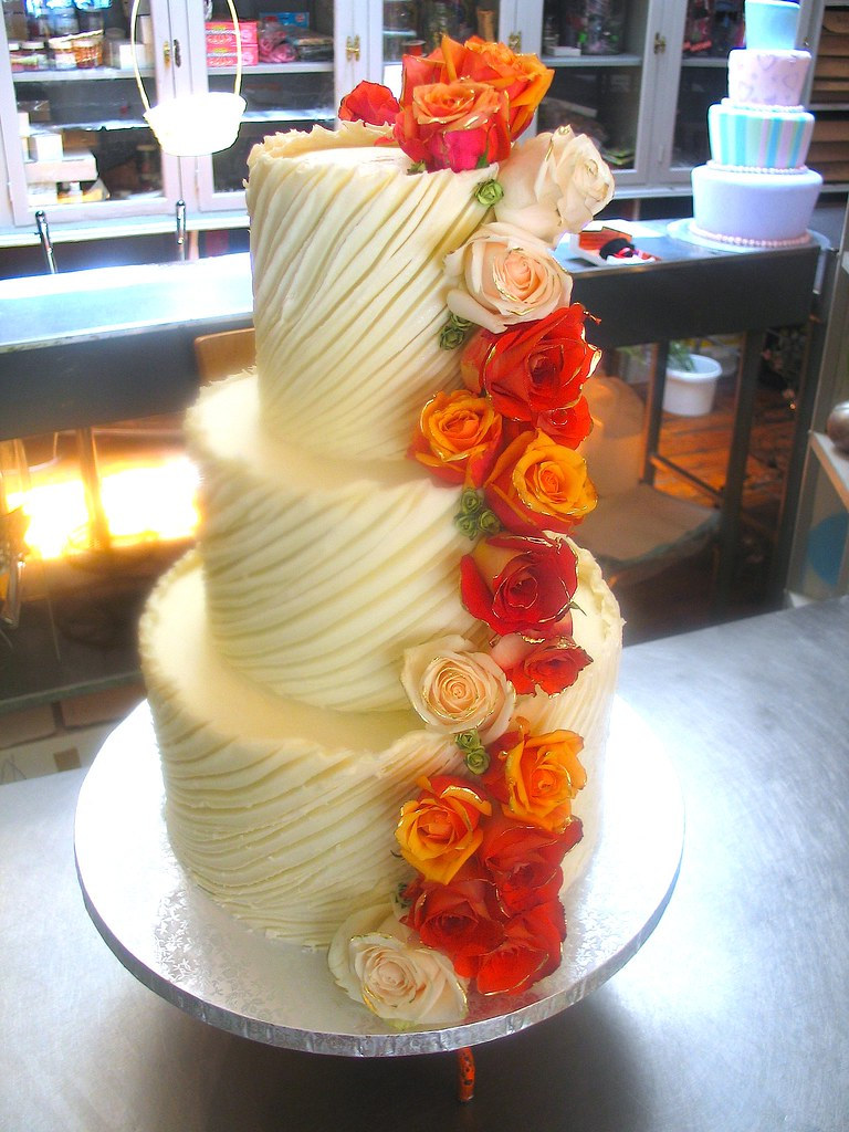 3-tier Wicked Chocolate wedding cake iced in spanish textu… | Flickr