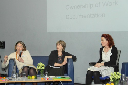 Conversation 2 – Co-Production and Ownership of Work plus Documentation, pictured  L-R Katie Verling, Deirdre Walsh and Nicola Dunne (Chair) | by Dialogue Arts + Health