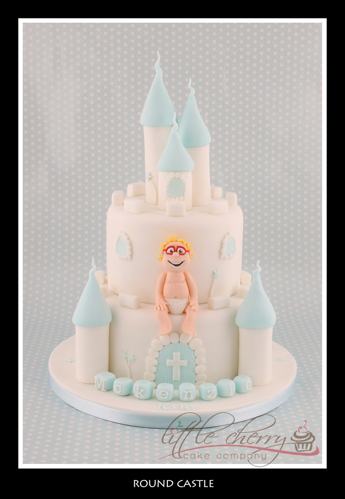 baby boy blue and white castle cake by little cherry cake company