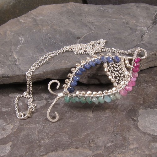 Ruby, Sapphire, and Emerald Fish Pendant Necklace N229 | by ShyVioletJewelry