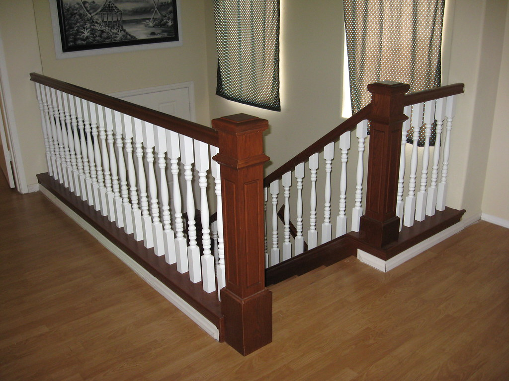... Stained Oak Handrail With White Spindles And Solid Oak Steps | By JD  Stairs