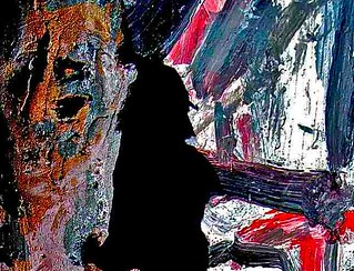"""shadow of myself as Sherlock Holmes painting the night away""*Jan.2012a 