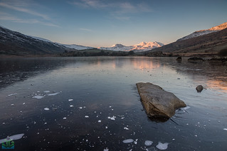 Snowdon Horseshoe from a frozen Llynnau Mymbyr | by James G Photography