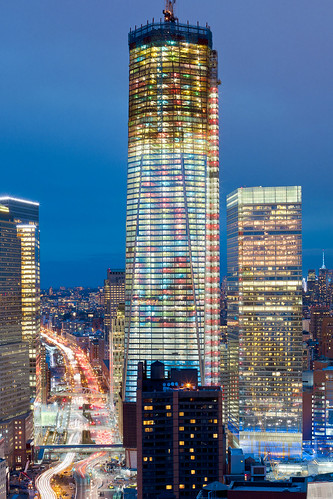 One World Trade Center in Holiday Lights: Progress shot for December 2011 | by RBudhu