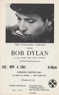 Program for Bob Dylan's first New York concert | by special.collections