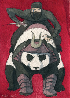 Tiny Paintings: Ninja on Battle Panda | by quirkybird